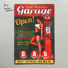 DL-Garage Open GAS Wall plaque Metal Sign Word Art antique tray Home Decor pin up poster coffee signs for wall(China)