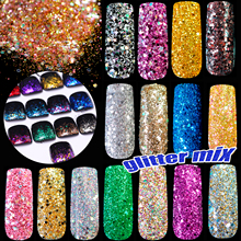 Pentagon sequins Holographic Glitter Powder DIY nail art glitter Gold Silver Red Pink Blue Glitter Size Color Mix(China)