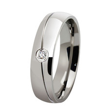 Free Engraving 6mm Fashion Stainless Steel Simple Promise Rings with Crystal - Silver, Gold, Black(China)