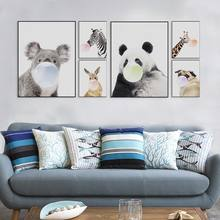 Nordic Kawaii Animal Bubbles Koala Giraffe Dog Canvas A4 Art Print Poster Nursery Wall Picture Kids Room Decor Painting No Frame