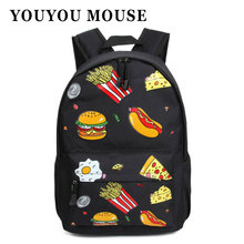 YOUYOU MOUSE Fashion Food Fries Hamburger Pattern Printing Casual Bag Backpacks Autumn And Winter Schoolbags For Teenagers Girls
