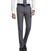 2017 slim fit Summer Business men formal suit pants wedding bridegroom trousers 28~40 gray and black color(China)