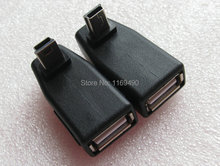 1pair / 2pcs  mini b 5 pins male UP and Down angle degrees to USB A  2.0 female adapter jack connector plug for Notebook etc.