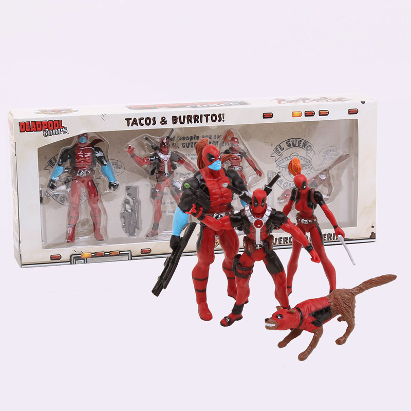 Marvel Deadpool CORPS PVC Action Figures Collectible Toys 4-pack 4 10cm New in retail box<br><br>Aliexpress
