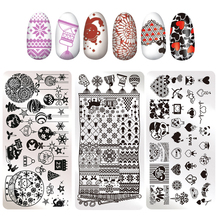 Christmas Love Valentine's Day Stamping Plate Snowflake Heart Winter Holiday Santa Claus Xmas Manicure Nail Art Image Template