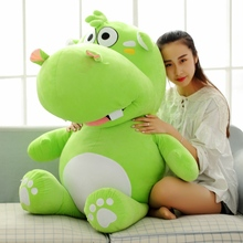 stuffed toy huge 120cm cartoon fat hippo plush toy green hippo doll hugging pillow Christmas gift w2529(China)