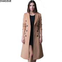 CHAOJUE Brand European inimation cashmere coat trench for women double breasted classic camel woolen coats female slim peacoat