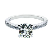 Princess Cut Well Man Made 1Ct Simulate Diamond Ring Wedding Jewelry Genuine 18K White Gold AU750 Engagement Ring for Women(China)