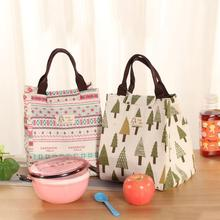 1PCS Insulated Thermal Lunch Bag Pouch Storage Box Container Food Carry Bag Picnic Handbag Hedgehog Tree Bear Ethnic Whale Style