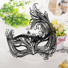 Free shipping,Best sale Black Laser Cut Metal Venetian Mask Masquerade Costume Prop Halloween Party Mask BMJ07