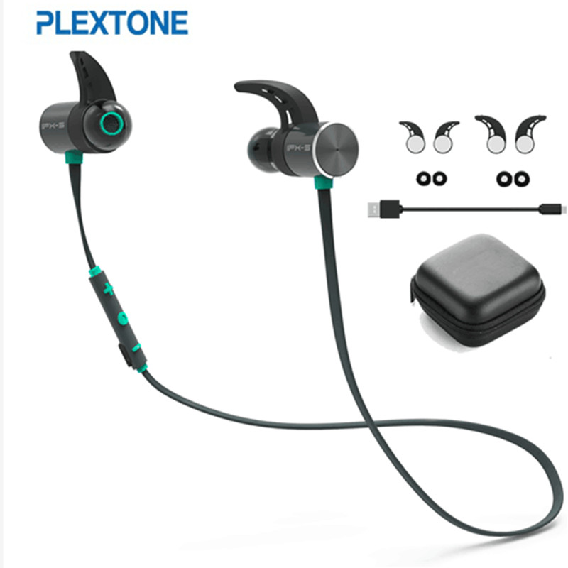 PLEXTONE BX343 double battery V4.1 magnetic suction bluetooth earphone sport waterproof headset endurance metal music headphones(China)
