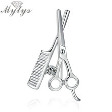 Mytys Haircut Tool Brooches Hair Scissors and Comb Fashion Brooch for Women Hat Collar Clips Bijoux Accessory X271(China)