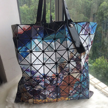 2016 Fashion Women Bags Geometry Package Sequins Saser Plain Folding Tote Bags Diamonds Laser Single Shoulder Handbags