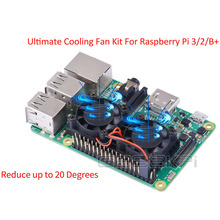 New! Ultimate Heatsink Cooler with Double Cooling Fans Reduce up to 20 Degrees For Raspberry Pi 3 / 2 Model B & B+