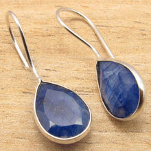 ROYAL sappfire Gems Simple Fashion Blue Earrings !  Silver Plated Jewelry