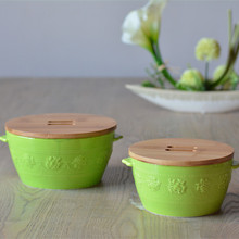 High Quality Macaroon Green Engraving Ceramic Kitchenware Fresh Bowl with Cover Rural Nature Style Home Decor Accessories
