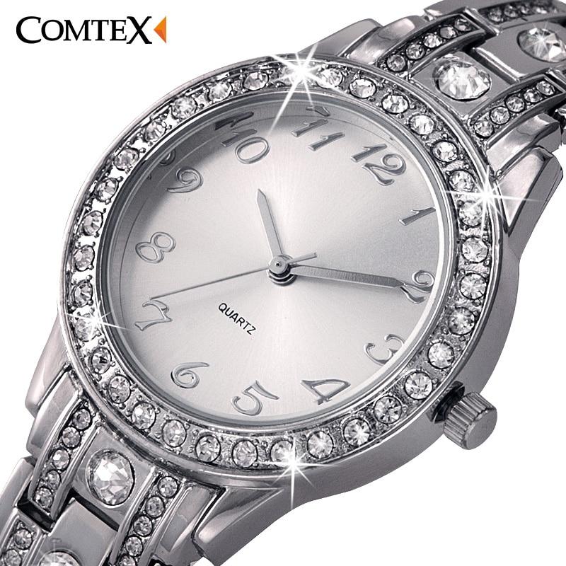 2017 Fashion Luxury ladies wrist watch Round women watch Silver quartz wristwatches bling bling crystal watch women dress clock<br><br>Aliexpress