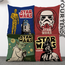 Square 18 inches Cotton Linen Star War Cartoon Style Picture Sofa Decorative Throw Cushion Covers Home Decor Pillow Case(China)