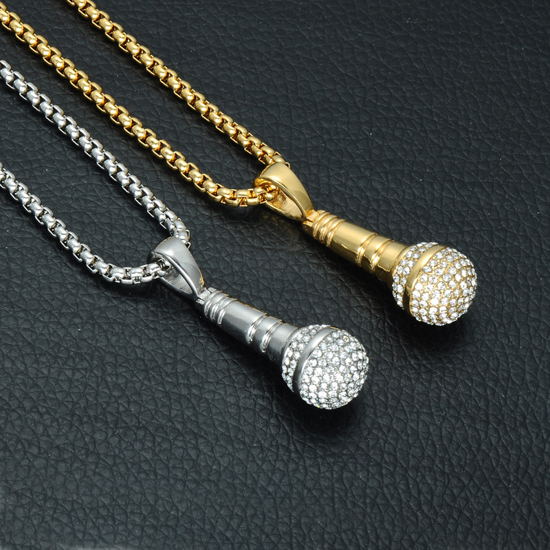 Ice Out Chain Necklace Microphone Pendant Men/Women Stainless Steel Gold Color Rhinestone Best Friend Jewelry Hip Hop