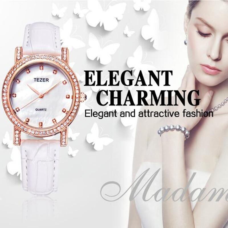 TEZER Fashion Brand Business Watch Women Quartz Wristwatch Ladies Leather Band Luxury Watch 3 Colors Alloy Montre Relogio C88<br><br>Aliexpress