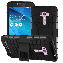 Luxury For Asus Zenfone Selfie ZD551KL Silicone Plastic Hard Cover With Kickstand Heavy Duty 3D Armor Phone Cases For ZenFone Go(China)