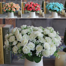 Charming Delightful 15 Buds 1 Bouquet Mini Rose Artificial Silk Flower Decoration Bridal Home Decal