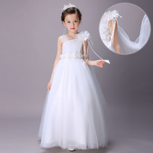 White Inclined shoulder Mesh Flower Girl Dresses Ball Gown Lace Sleeveless  Wedding Pageant First Communion Girls Dress IY108