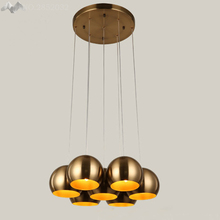 LFH Modern Pendant Lights Bulb LED Pendant Lamp Kitchen Bronze Electroplating Ball Hanging Nordic Christmas Lighting Fixtures(China)