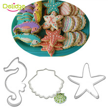 Delidge 3pcs/set New Ocean Theme Stainless Steel Cookie Cutter 3D Shell Hippocampus Starfish Biscuit Cake Mold DIY Baking Tools