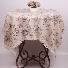 Durable Beige Cotton Linen Table Cloth Peony Floral Printed Dustproof Table Covers for Furnitures Household Applicances(China)