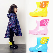 2016 New Children  Rain boots Candy Colors Kids Fashion Baby Girls Boys Water Shoes Angle Wings Rain Boots