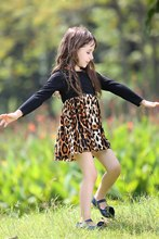 Pettigirl Latest Leopard Printed Girl Dress With Scarf Summer Black Casual Dress Children Clothes GD80727-10F(China)