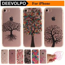 DEEVOLPO Trees Flowers Plum Silicone Soft Transparent Phone Bags For Apple iPhone 7 8 6 6S Cartoon Love Color Shell Capa DP09G(China)