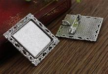New Fashion 2pcs 25mm Inner Size Antique Silver Brooch Square Cabochon Base Setting (A7-26)(China)