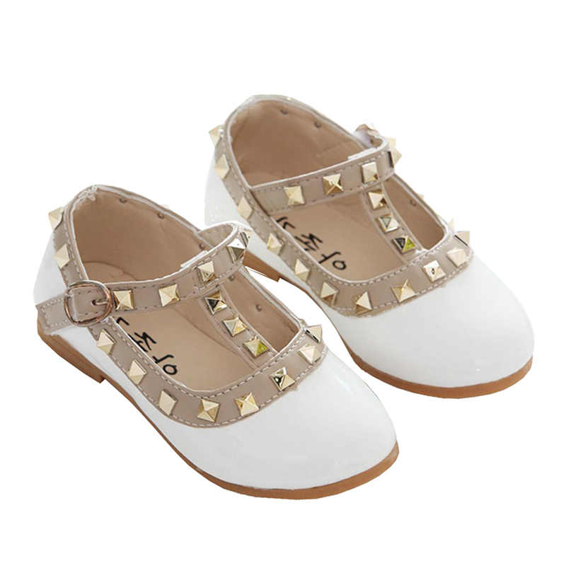 New Kids Girls Fashion White Red Black Rivet Patent Leather Shoes For Girls  School Flat Princess 0570304c6f3a