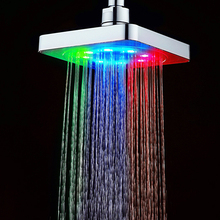 "6"" inch Square Water Flow Powered LED Hand Shower Head Colorful 2016 Wholesale New Arrival Abs Plastic Chrome Douche"