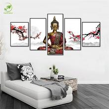 5pcs Buddha Art Painting Red Plum Flowers Pictures Melamine Sponge Board Oil painting Frame Print Home Decor Wall Art Picture