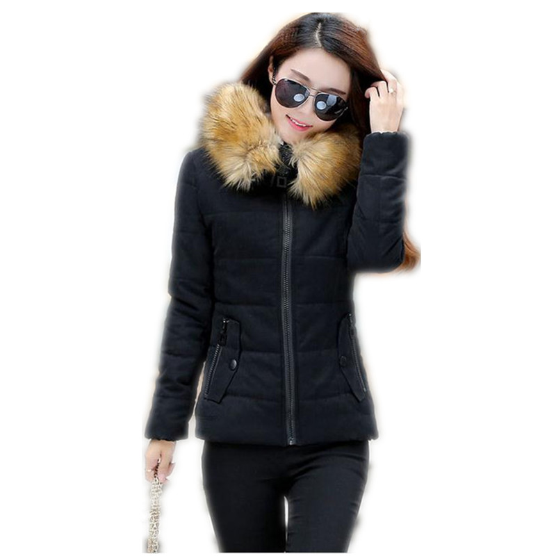 2017 New Micro Peach Winter Women Cotton Short Jacket Parkas Hooded Fur Collar Slim Cashmere Cotton Women Thicken Warm CoatCQ257Îäåæäà è àêñåññóàðû<br><br>