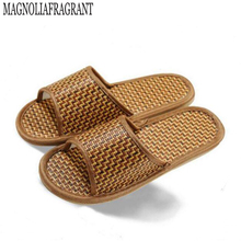 High quality linen bottom skid slippers for men and women home interior natural bamboo rattan mat cool slippers h037(China)