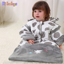 Flannel sleeping bag Winter Strollers Bed Swaddle thicken Blanket cotton Wrap cute Bedding sack baby sleeping bag kids slaapzak(China)