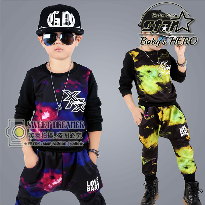 Fashion Teenager Boys Dance Clothes Kids Outfits Pullover&amp; Pants Casual Cool Summer Childrens Clothing Sets Cotton Boy Costumes<br>