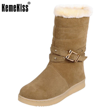 Buy KemeKiss Snow Boots Women Flats Half Short Boot Lady Warm Plush Winter Mid Calf Boots Footwear Shoes Woman Size 32-40 for $20.98 in AliExpress store