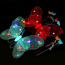 Flashing Butterfly wings clothes 1pcs,Children show costumes, angel wing,Led Christmas/New Year Party Supplies Luminous toys(China)