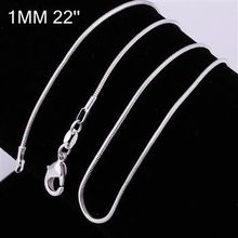 10pcs/lot Promotion! wholesale 925 silver necklace, 925 silver fine jewelry Snake Chain 1mm 22 inches Necklace,(China)