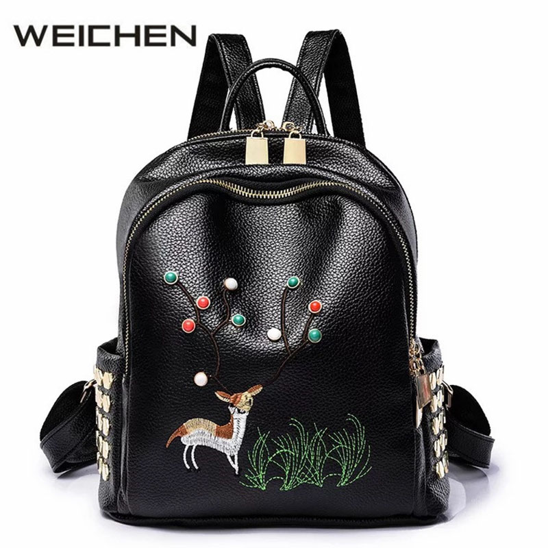 2017 Autumn Small Backpack Women Leather Black Embroidery Rivet Bags Animal Prints Fashion Female Backpacks Mochila Feminina<br>