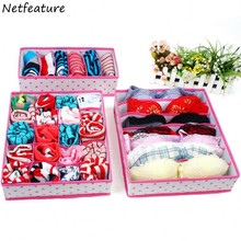 3pcs/lot Creative Little Non-woven Folding Underwear Drawer Storage Box Closet Organization Socks Tie Bra Underwear Organizers(China)