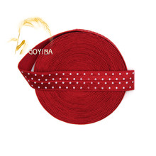 "GOYIBA 5 Yard 5/8"" 1.5cm Red Polka Dot Print Fold Over Elastic Spandex Satin Band Kid Hair Tie Hairband Headband DIY Sewing Trim"