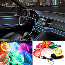 2m/3m/5m Car 12V LED Cold lights Flexible Neon EL Wire Auto Lamps on Car Cold Light Strips Line Interior Decoration Strips lamps(China)
