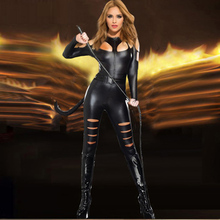 2017 New Arrival Women Faux Leather Catsuit Cut Out Hole Fetish Leotard Jumpsuit Black Cat Catsuit Sexy Catwoman Costume W880477