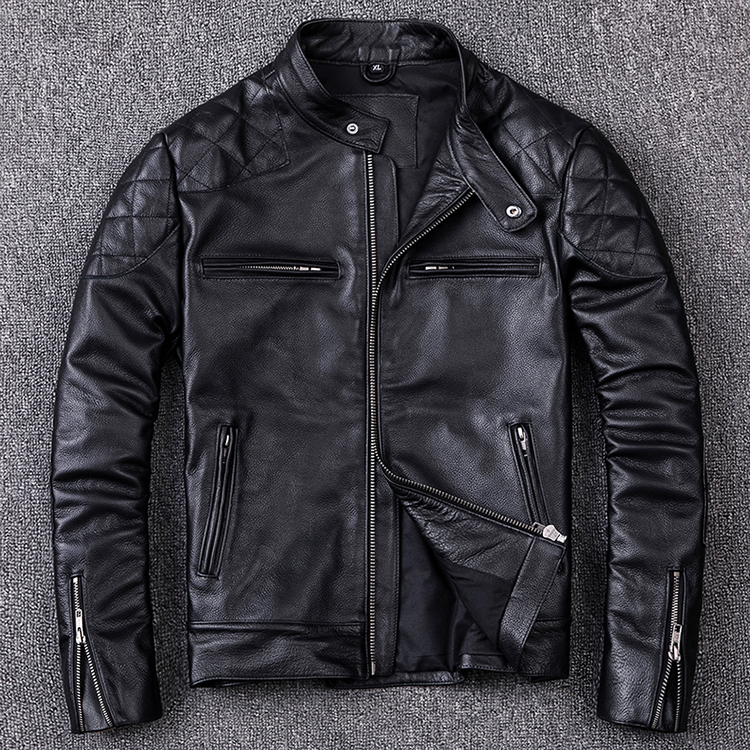 Free shipping.Brand new style motor style leather jacket,mens genuine leather coat.plus size black slim cowhide clothes